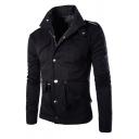 Men's Cool Simple Plain Stand Collar Long Sleeve Multi-Pocket Military Work Jacket