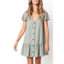 Summer Trendy Plain V-Neck Flutter Sleeve Button Down Ruffled Mini Button Down Dress