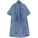 Trendy Girls Trench Coat Short Sleeve Shawl Neck Longline Loose Fit Denim Trench Coat in Blue