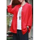 Basic Womens Shirt Linen Plain Long Sleeve Button Up Relaxed Fit Shirt