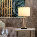 Fabric Drum Table Lamp Classic Style 1 Head Living Room Nightstand Lighting in Brass