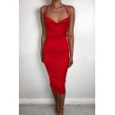 Womens New Fashion Plain Cowl Neck High Slit Nightclub Wear Sexy Midi Slip Dress