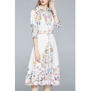 Popular Womens Dress Floral Print Half Sleeve Spread Collar Button Up Mid A-line Shirt Dress in White