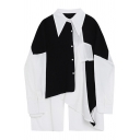 Fashion Girls Shirt Color Block Patchwork Long Sleeve Point Collar Button Up Longline Oversize Shirt in Black-White