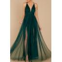 Boutique Dress Army Green Spaghetti Straps Deep V-neck Mesh High Slit Maxi Pleated A-line Cami Dress