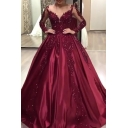 Red Amazing Dress Applique Floral Sheer Mesh Long Sleeve Sweetheart Neck Maxi Swing Gown for Ladies