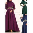 National Wind Womens Dress Embroidered High Waist Floor Length Slim Fitted Long Sleeve A-Line Swing Dress