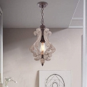 1-Light Pendant Light Traditional Shaded Wooden Suspension Light Fixture for Dining Room