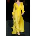 Trendy Ladies Dress Solid Long Sleeve Deep V-neck Gathered Waist Long Flowy Dress