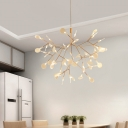 Firefly Acrylic Chandelier Art Deco Gold Finish Hanging Ceiling Light for Dining Room