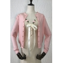Simple Womens Cardigan Plain Long Sleeve Button Up Knit Regular Fit Cardigan in Pink