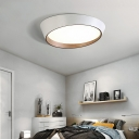 Oval LED Ceiling Flush Mount Light Nordic Metal Bedroom Flush Mount Fixture with Recessed Acrylic Diffuser
