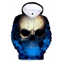 Popular Horrifying Skull Pattern Long Sleeves Pullover Hoodie with Pocket