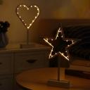 Minimalist Romantic Frame LED Table Lamp Plastic Kids Bedroom Battery Night Light in White