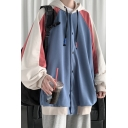 Fancy Hoodie Contrasted Blouson Sleeve Drawstring Button Up Loose Fit Hoodie for Men