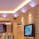 Clear Crystal Lotus Flush Mount Lighting Modernist LED Ceiling Light Fixture for Foyer