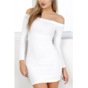 Popular Ladies Letter Fuck Off Embroidered Long Sleeve Off the Shoulder Knitted Mini Fitted Dress