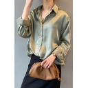 Fashion Womens Shirt Plain Long Sleeve Spread Collar Button Up Relaxed Fit Shirt Top