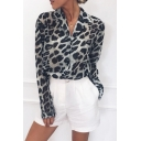 Popular Womens Shirt Leopard Printed Long Sleeve Notched Collar Button Up Relaxed Fit Shirt Top