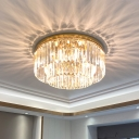 2-Layer Bedroom Ceiling Lamp K9 Crystal Modern Style Flush Mount Light Fixture in Gold