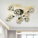 Ball Flush Mounted Lamp Nordic Glass Living Room Semi-Flush Ceiling Light Fixture