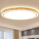 Nordic Circle LED Ceiling Flush Mount Wood Bedroom Flush Light with Acrylic Diffuser