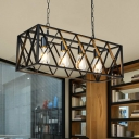Rectangle Island Light Fixture Industrial-Style Black Metal Hanging Ceiling Light for Restaurant