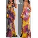 Amazing Girls Dress Tie Dye Pattern Halter Tied Front Cut Out Maxi Flowy Cami Dress in Yellow