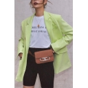 Womens Fashion Light Green Lapel Collar Button Front Flap Pocket Longline Loose Blazer Coat