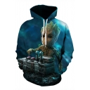 Cool 3D Figure Printed Long Sleeve Relaxed-Fit Blue Drawstring Hoodie