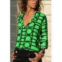 Hot Trendy Geometric Printed Round Neck Long Sleeve V-Neck Casual Blouse