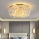 Multi-Layer Flush Mount Fixture Postmodern Crystal Rod Bedroom Flush Ceiling Light