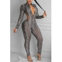 Popular Womens Jumpsuit Snake Print Long Sleeve Stand Collar Cut Out Zipper Front Ankle Skinny Jumpsuit in Brown
