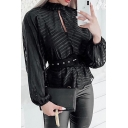Sexy Cool Women Long Sleeve Crew Neck Cut Out Front Stripe Sheer Mesh Relaxed Fit Shirt in Black