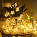 Globe Shade LED Festive Fairy Lighting Decorative Rattan White Solar Powered String Light