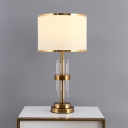 Fabric White Table Lamp Drum Shade Single-Bulb Classic Nightstand Light with Crystal Rod