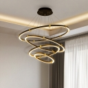 Layered Loop LED Suspension Light Nordic Style Acrylic Living Room Chandelier Light in Gold-Black