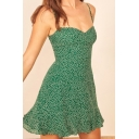 Pretty Womens Dress Ditsy Floral Printed Spaghetti Straps Ruffled Short A-line Cami Dress in Green