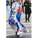 Fashion Womens Dress Abstract Print Long Sleeve Point Collar Button Up Ruffled Maxi A-line Shirt Dress in Blue-white