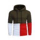 Simple Contrast Patchwork Pouch Pocket Long Sleeve Casual Fleece Drawstring Hoodie