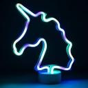 Creative Neon Modeling LED Night Light Plastic Kids Room Battery Table Lamp in White