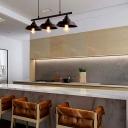 Dark Coffee 3-Light Island Lighting Retro Iron Barn Shade Suspension Light for Restaurant
