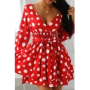 Fancy Women's A-Line Dress All over Polka Dot Stringy Selvedge Embellished Tie Front Long Sleeve Tiered Mini A-Line Dress