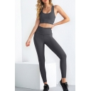 Gym Womens Yoga Co-ords Solid Color Brushed Tummy-Control Skinny Fitted Leggings Scoop Neck Cropped Sleeveless Bra Set