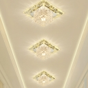 Square LED Ceiling Spotlight Contemporary Crystal Clear Flush Mount Fixture for Hallway
