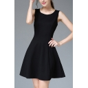 Girls Elegant Dress Solid Color Sleeveless Round Neck Short A-line Tank Dress in Black