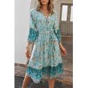 Classic Womens Dress Floral Positioning Pattern Tie-Waist Midi 3/4 Sleeve A-Line V Neck Dress