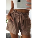 Leisure Womens Shorts Solid Color Bow Tied Waist Relaxed Fit Shorts