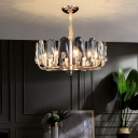 Round Ceiling Chandelier Minimalist Crystal Gold Finish Pendant Light Fixture for Dining Room