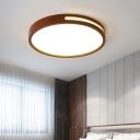 Geometrical Flush Mount Led Light Nordic Wooden Bedroom Ceiling Mount Lamp in Brown